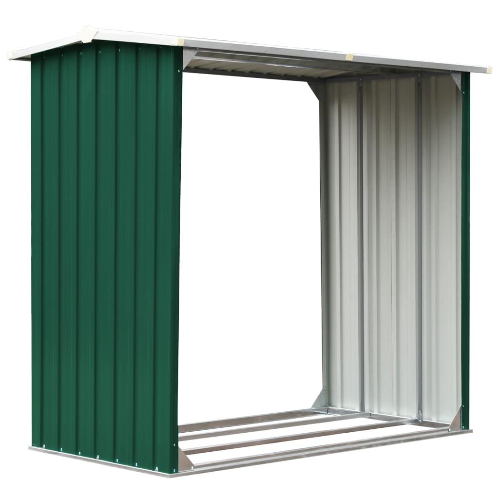 Vedskjul galvaniserat stål 172x91x154 cm grön