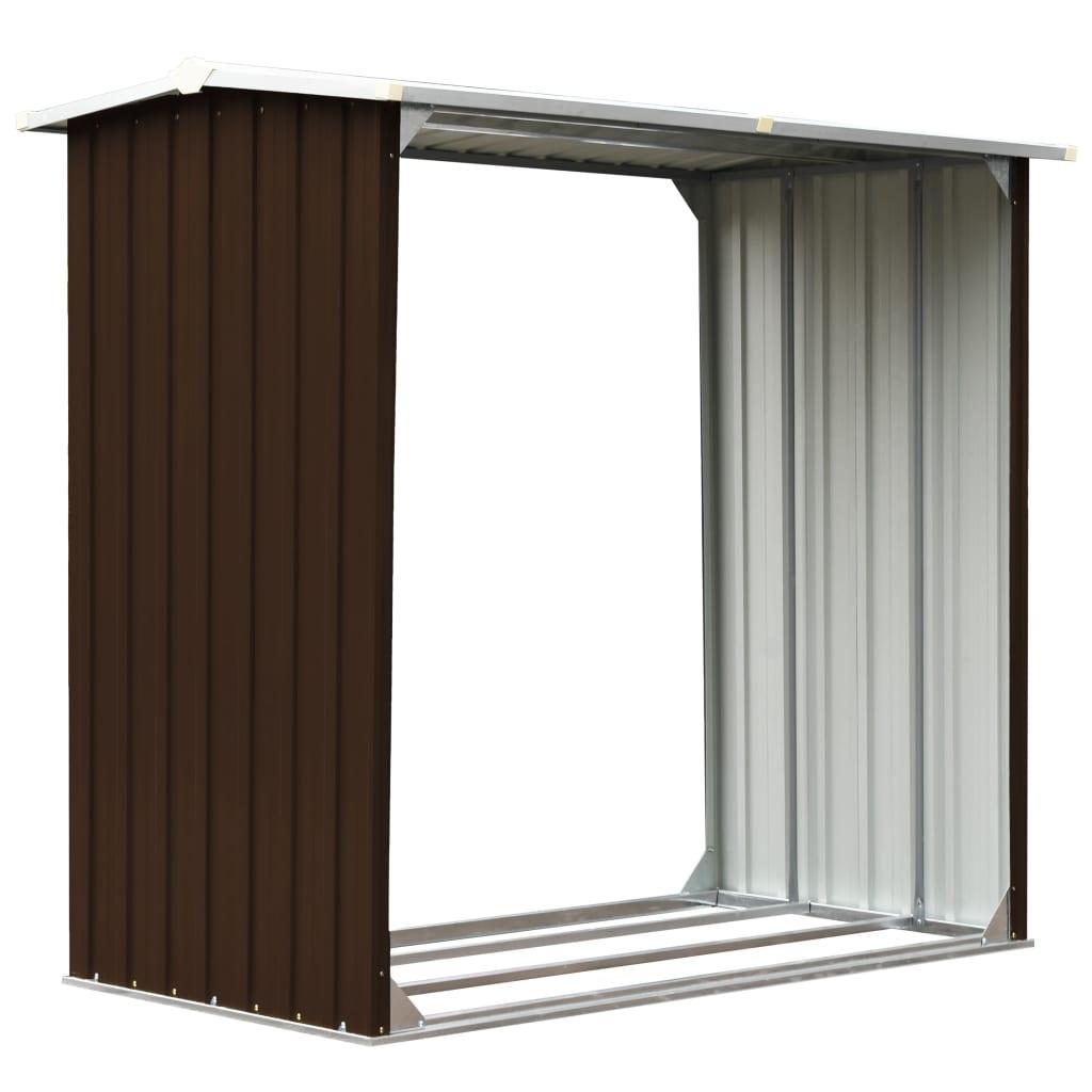 Vedskjul galvaniserat stål 172x91x154 cm brun