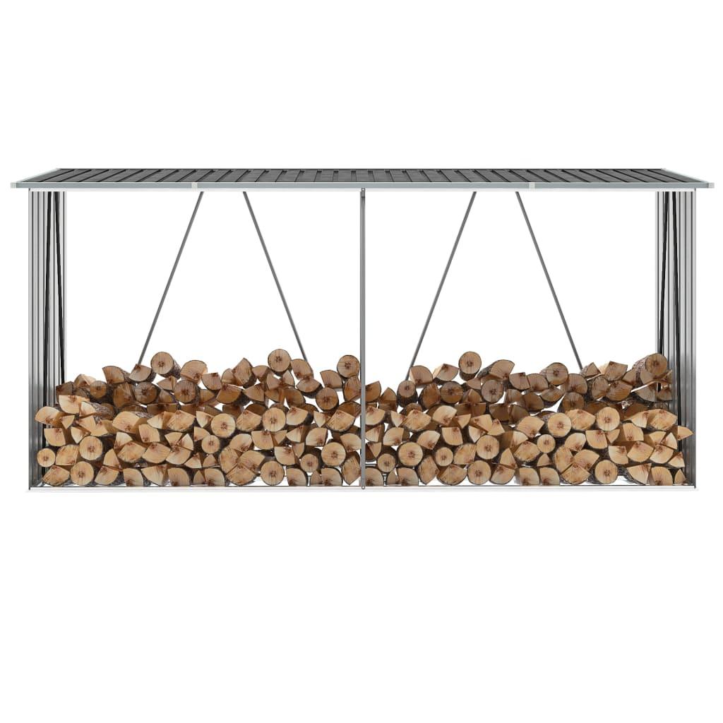 Vedskjul galvaniserat stål 330x84x152 cm antracit