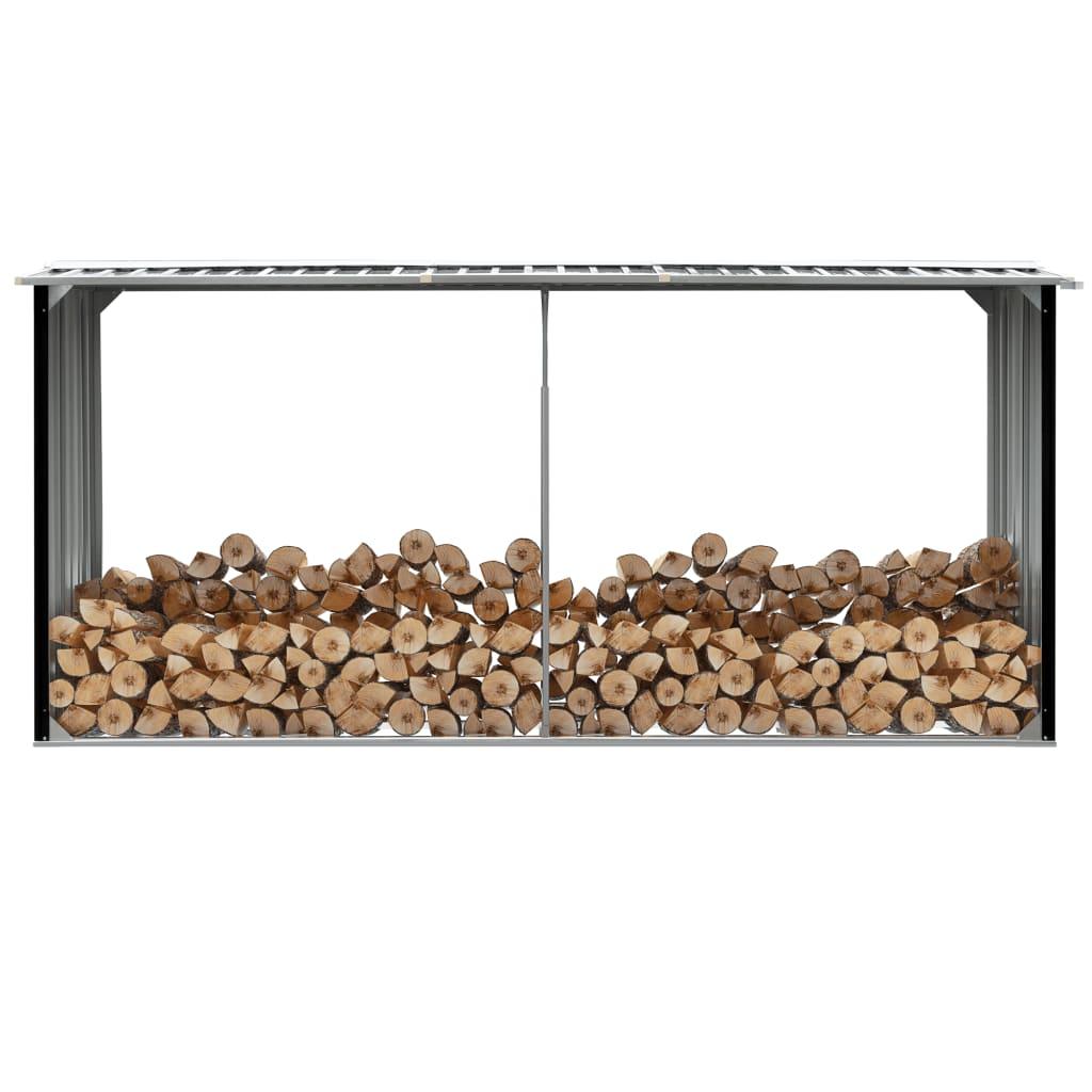 Vedskjul i galvaniserat stål 330x92x153 cm antracit