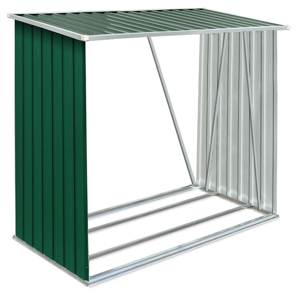 Vedskjul galvaniserat stål 163x83x154 cm grön