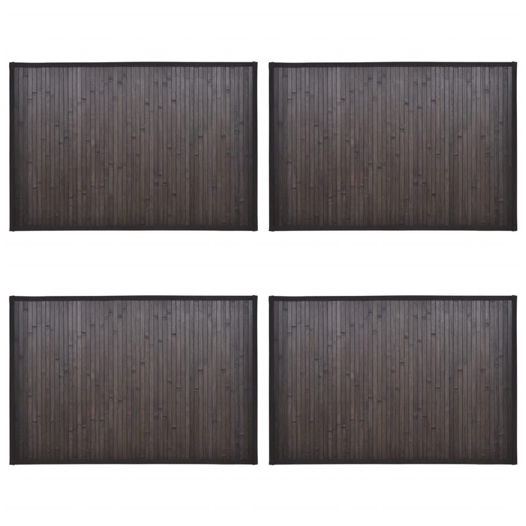 Bambumattor 4 st 40x50 cm mörkbrun