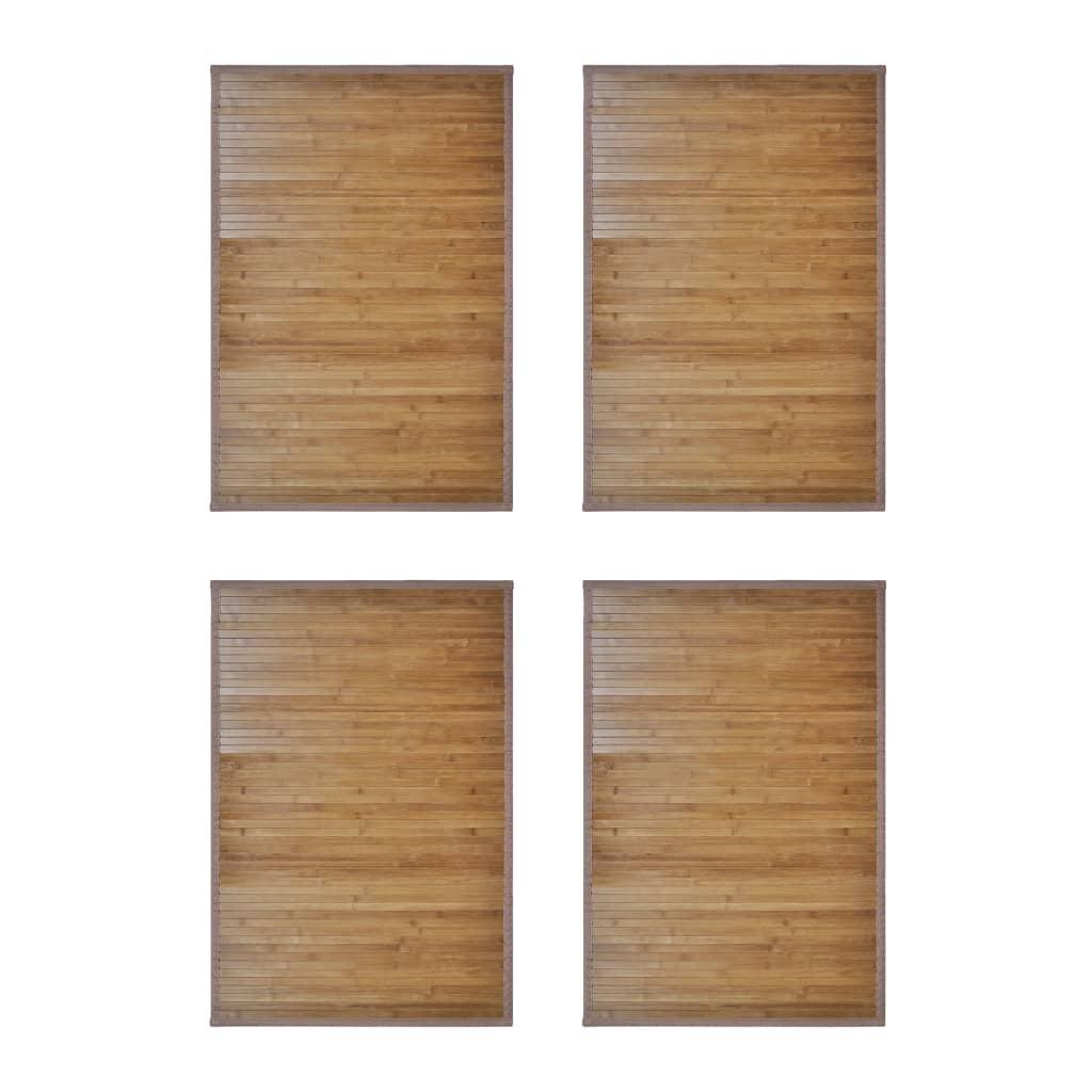 Bambumattor 4 st 60 x 90 cm brun