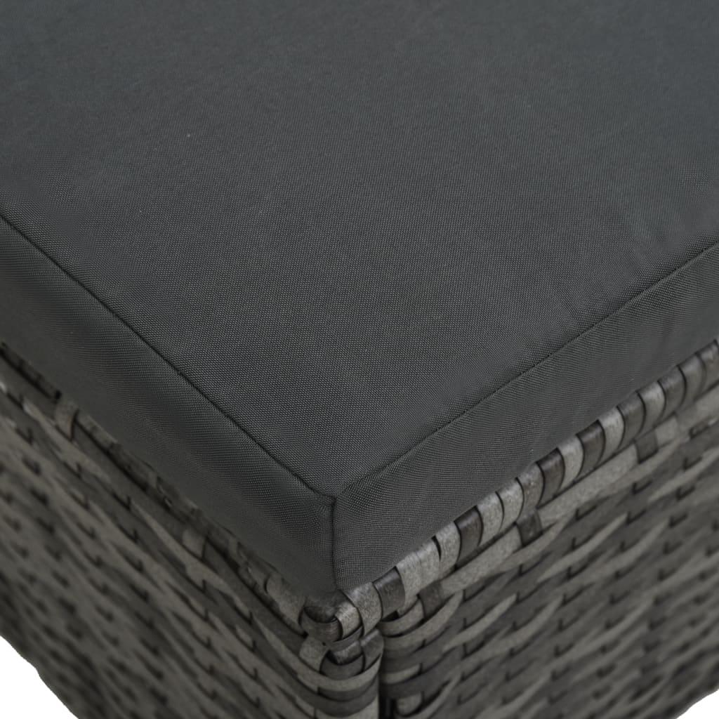 Loungegrupp för trädgården med dynor 4 delar konstrotting grå
