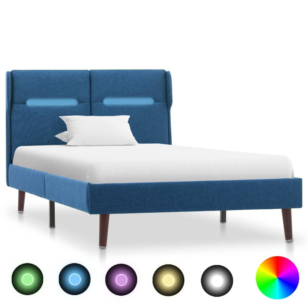 Sängram med LED blå tyg 100x200 cm