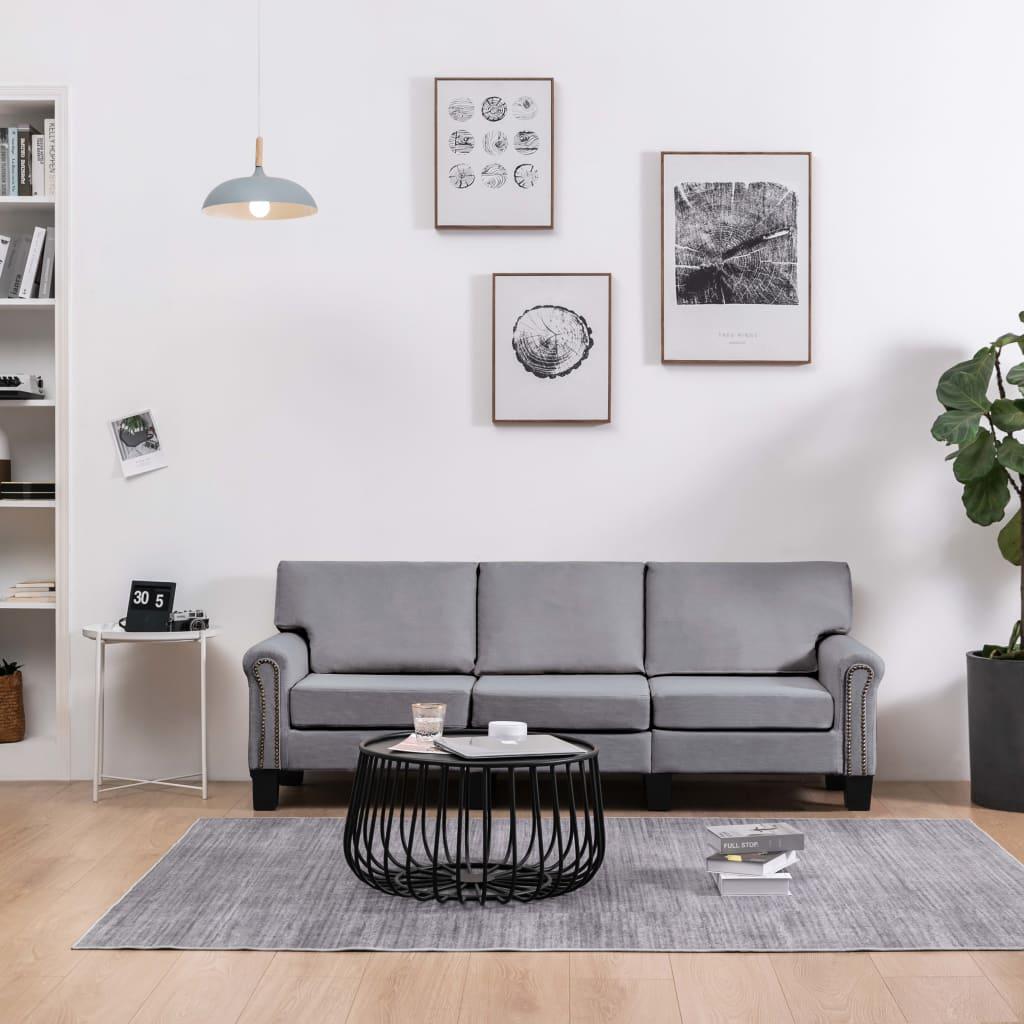 3-sitssoffa tyg ljusgrå