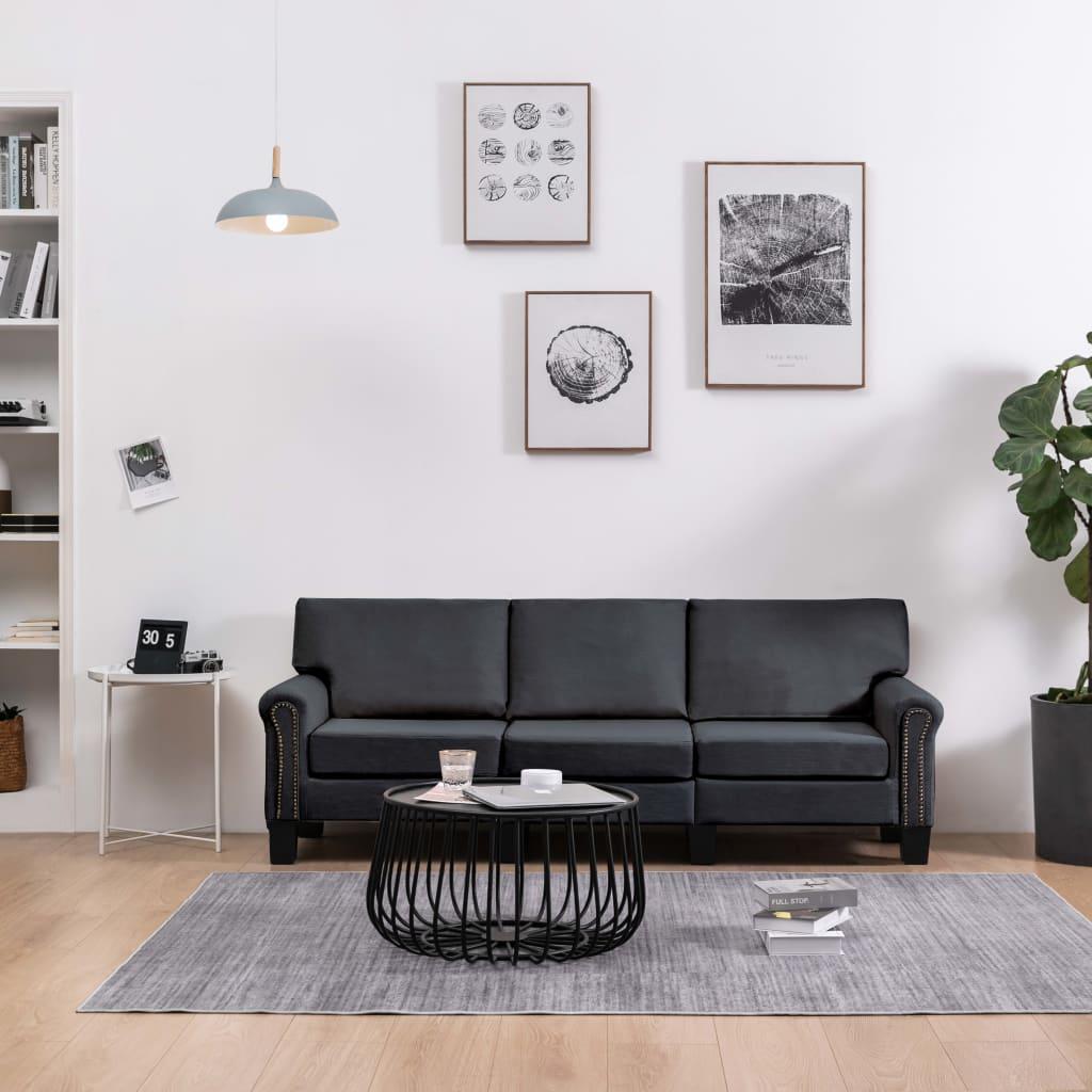 3-sitssoffa mörkgrå tyg