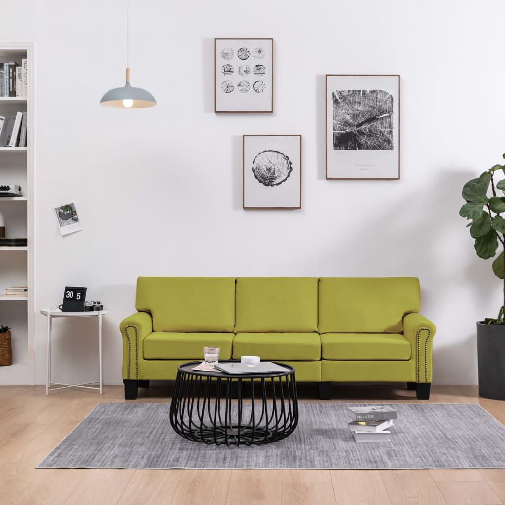 3-sitssoffa grön tyg