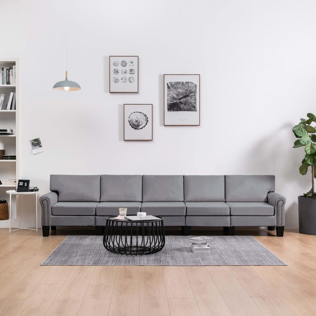 5-sitssoffa ljusgrå tyg