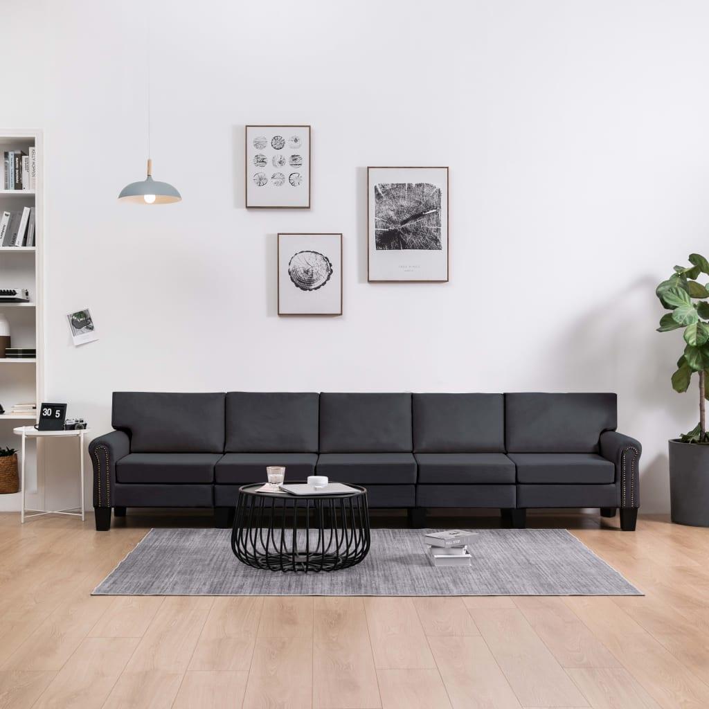 5-sitssoffa mörkgrå tyg