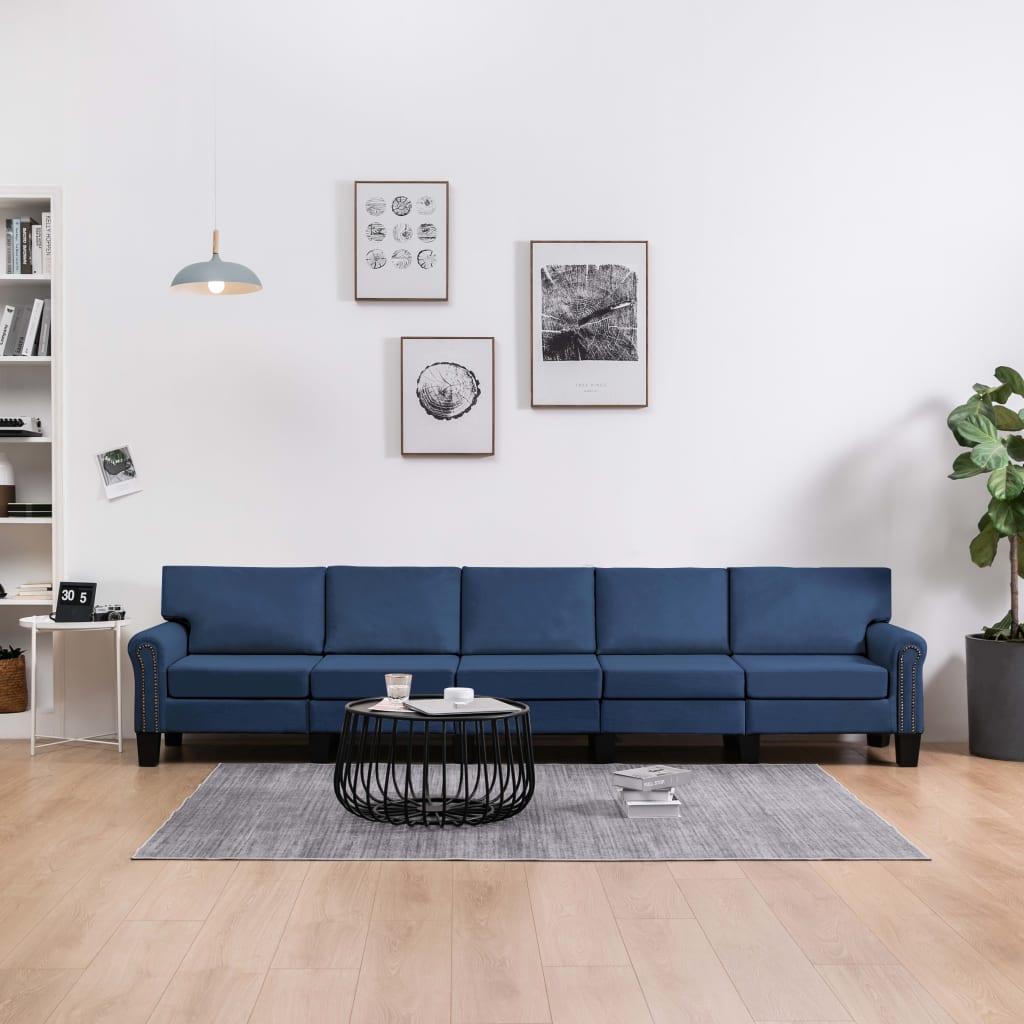 5-sitssoffa blå tyg