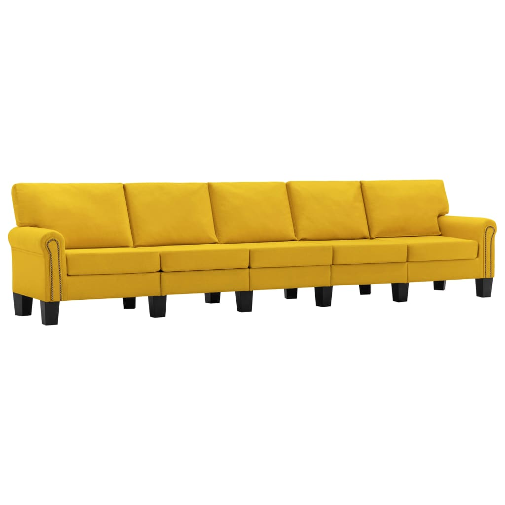5-sitssoffa gul tyg