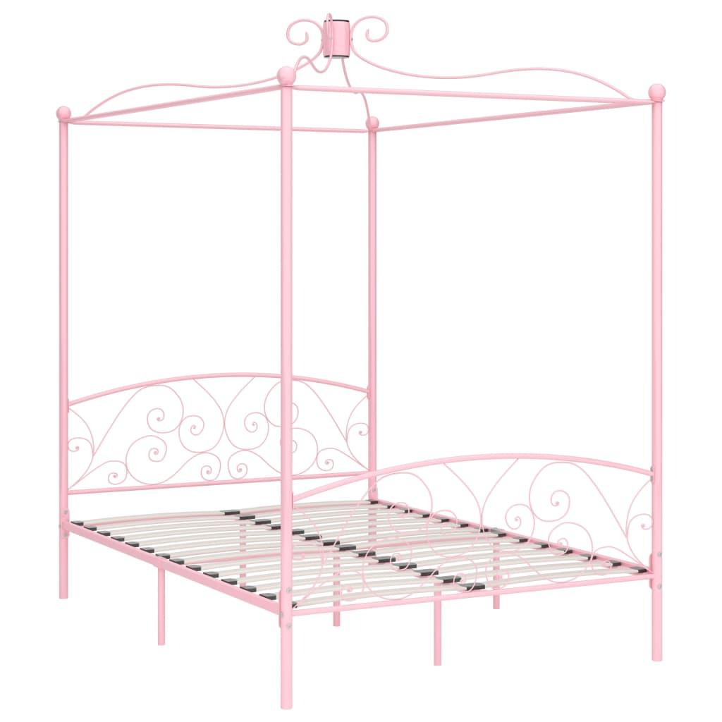 Himmelsäng rosa metall 140x200 cm