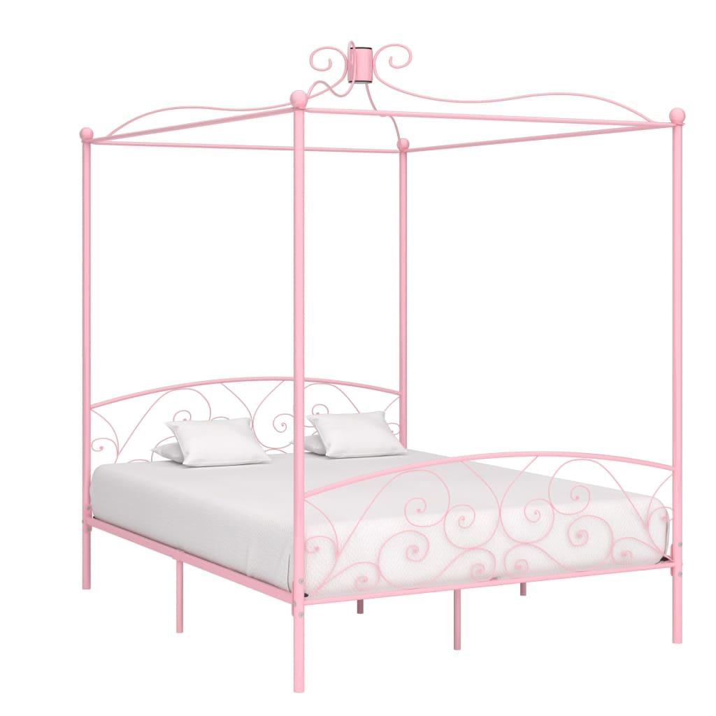Himmelsäng rosa metall 160x200 cm