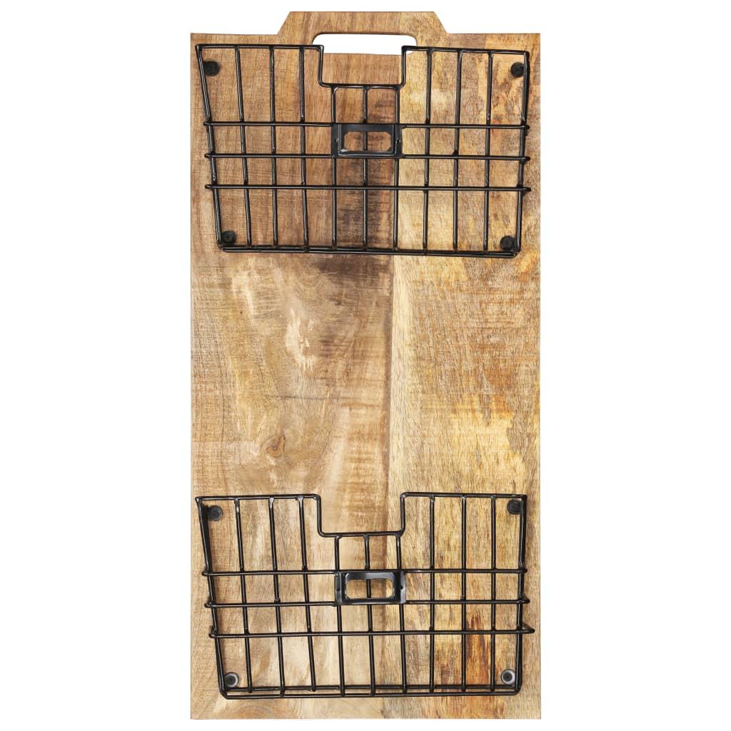 Väggmonterat tidningsställ 33x10x67 cm massivt grovt mangoträ