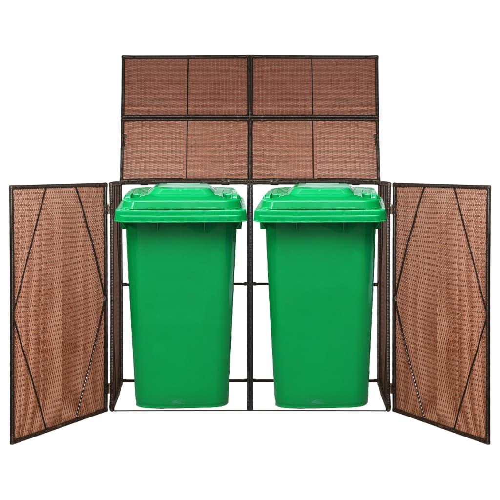 Dubbelt skjul för soptunnor brun 153x78x120 cm konstrotting