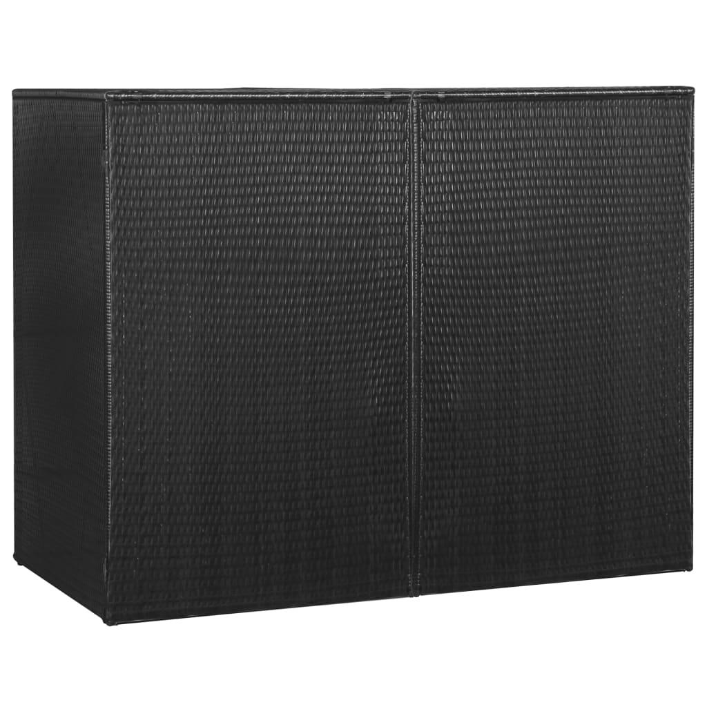 Dubbelt skjul för soptunnor svart 153x78x120 cm konstrotting