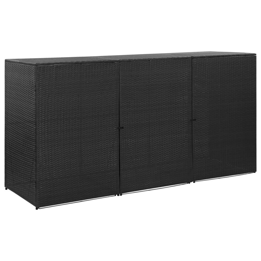 Trippelt skjul för soptunnor svart 229x78x120 cm konstrotting