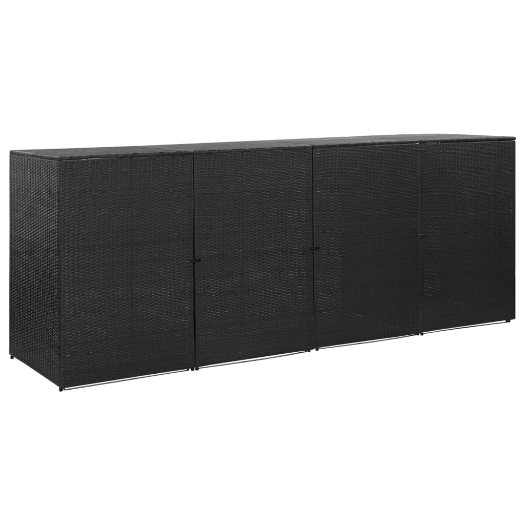 Fyrdubbelt skjul för soptunnor svart 305x78x120 cm konstrotting