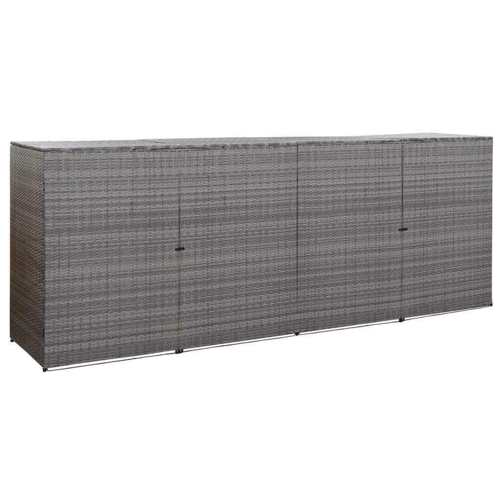 Fyrdubbelt skjul för soptunnor antracit 305x78x120cm