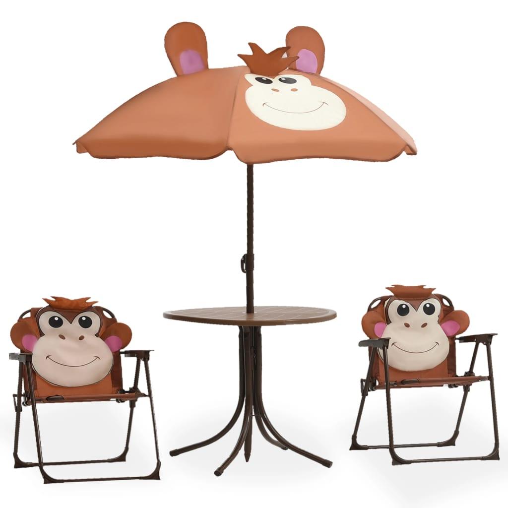 Caféset för barn med parasoll 3 delar brun