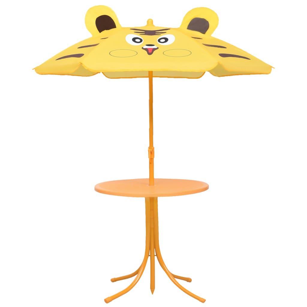 Caféset för barn med parasoll 3 delar gul