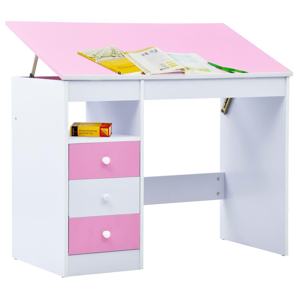 Skrivbord för barn lutbart rosa och vit