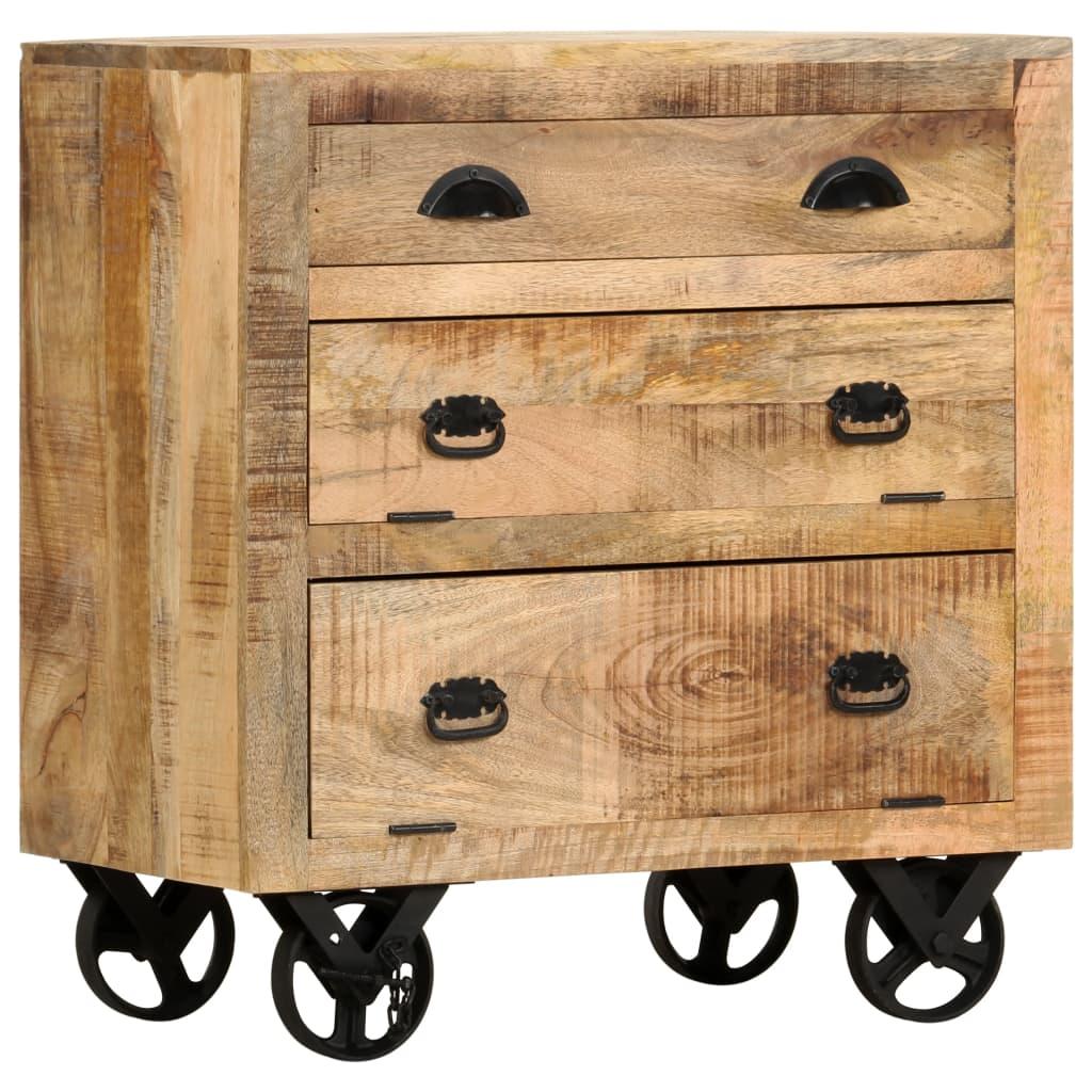 Byrå med hjul 70x40x75 cm massivt mangoträ