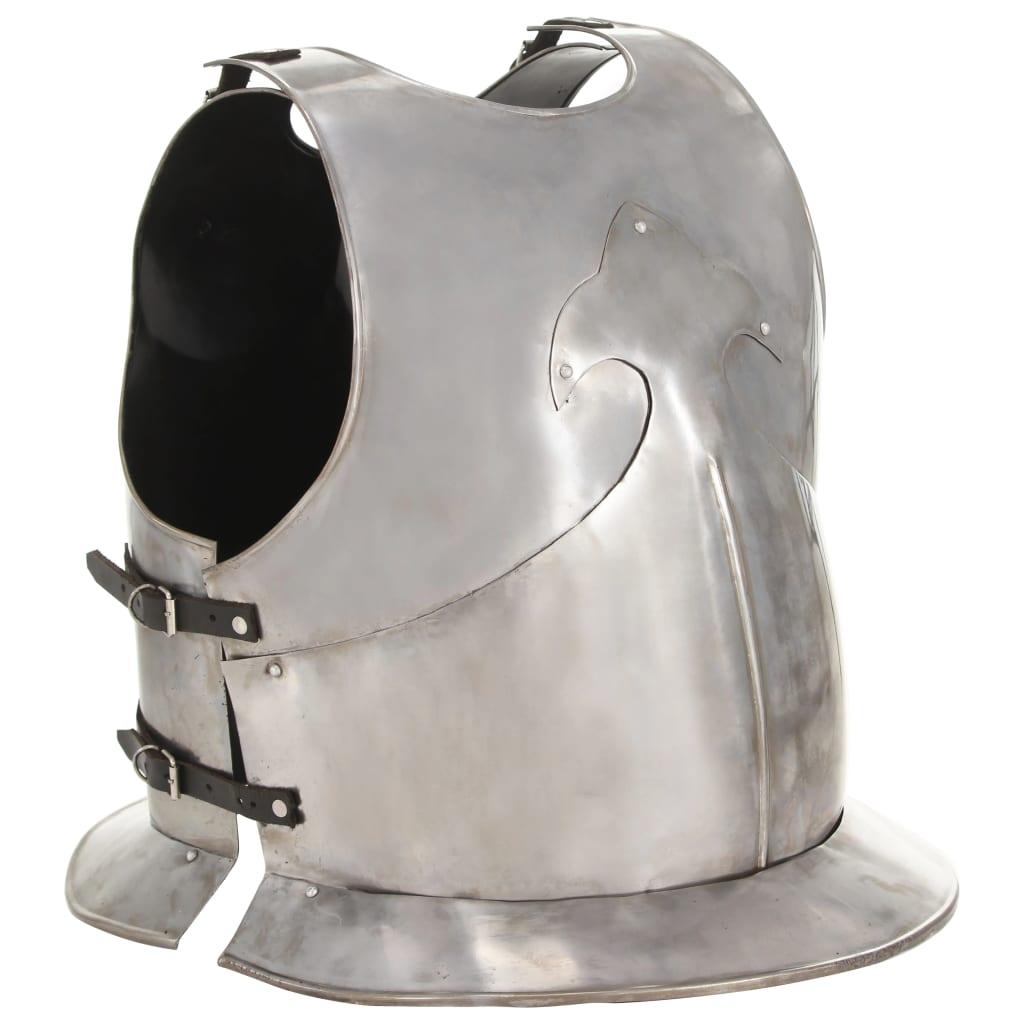 Tysk bröst- och ryggharnesk LARP silver stål