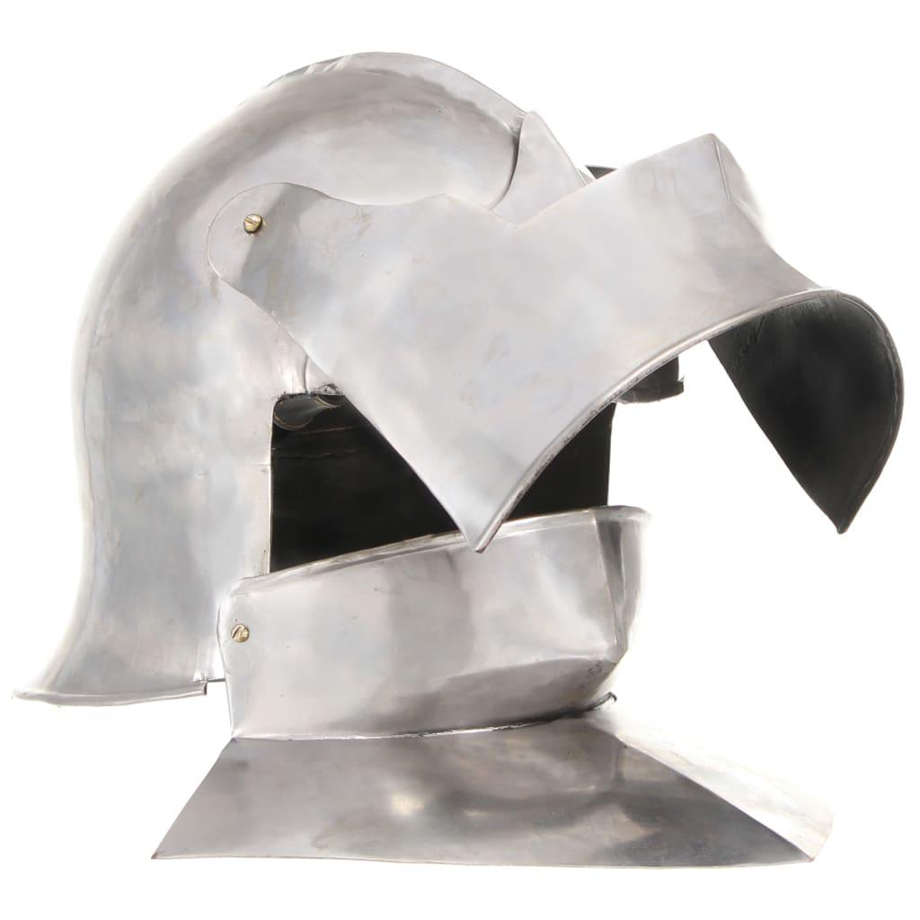 Medeltida riddarhjälm för LARP silver stål