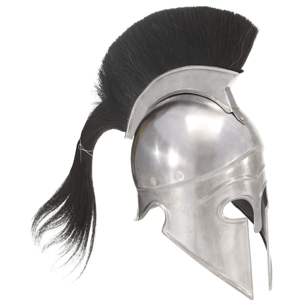 Grekisk riddarhjälm för LARP silver stål