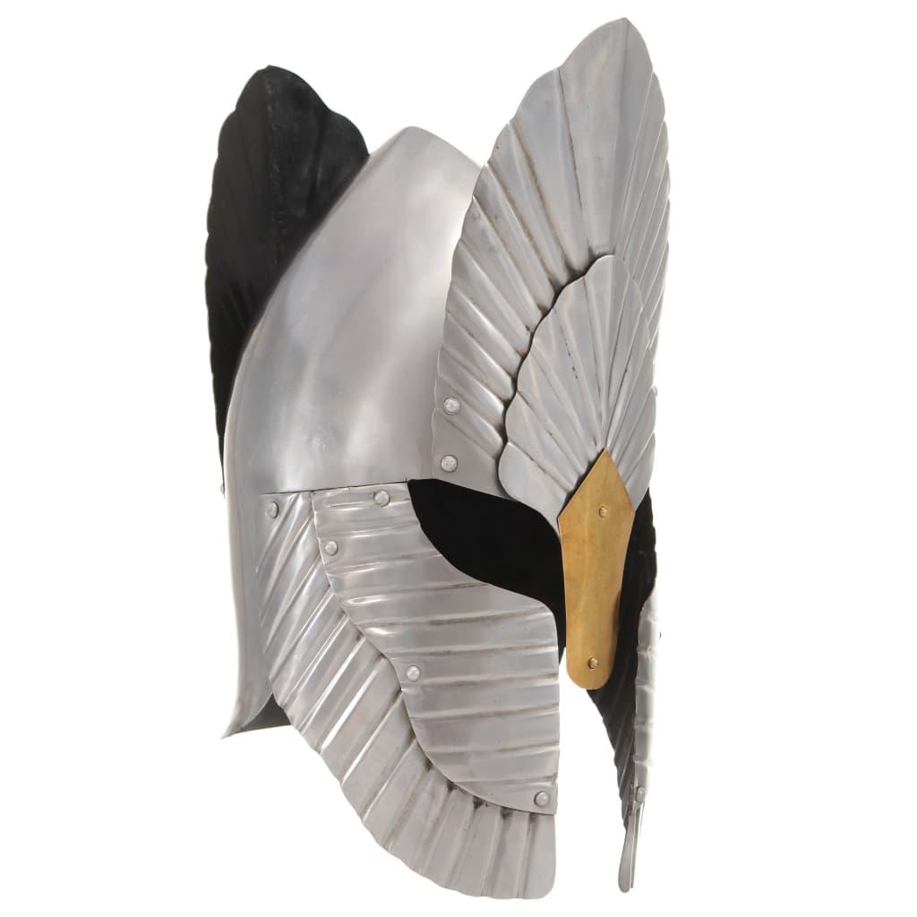 Fantasibaserad medeltida riddarhjälm för LARP silver stål