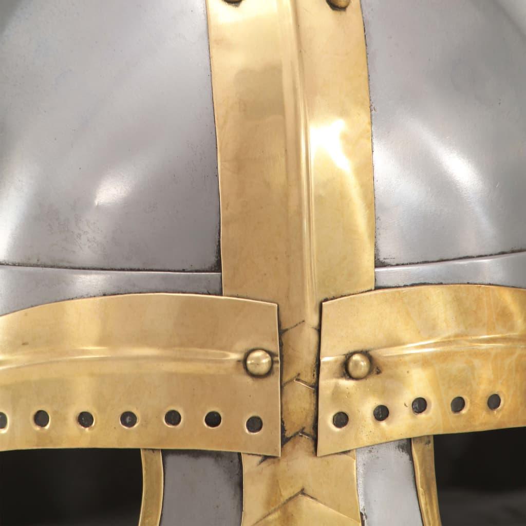 Medeltida hjälm för LARP silver stål