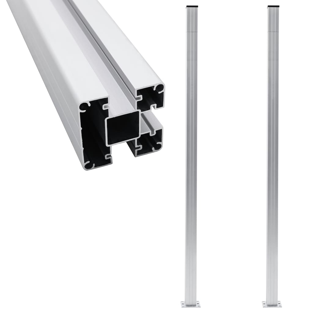 Staketstolpar 2 st aluminium 185 cm