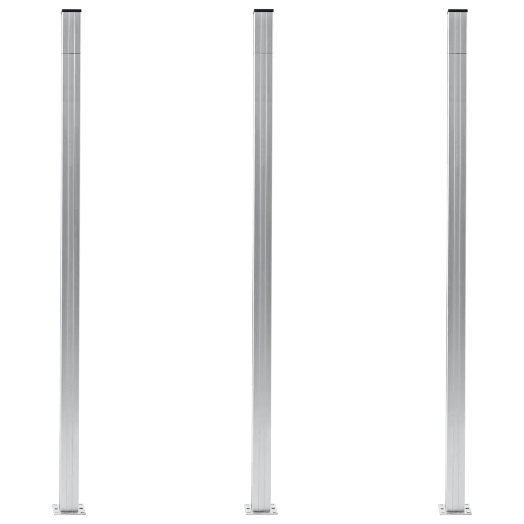 Staketstolpar 3 st aluminium 185 cm