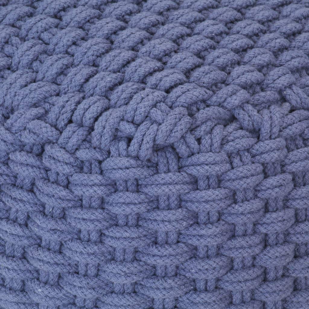 Handstickad puff blå 50x50x30 cm bomull