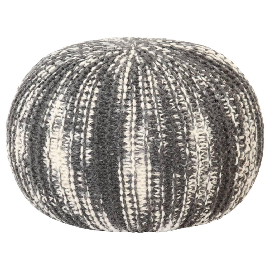 Handstickad puff mörkgrå och vit 50x35 cm ull