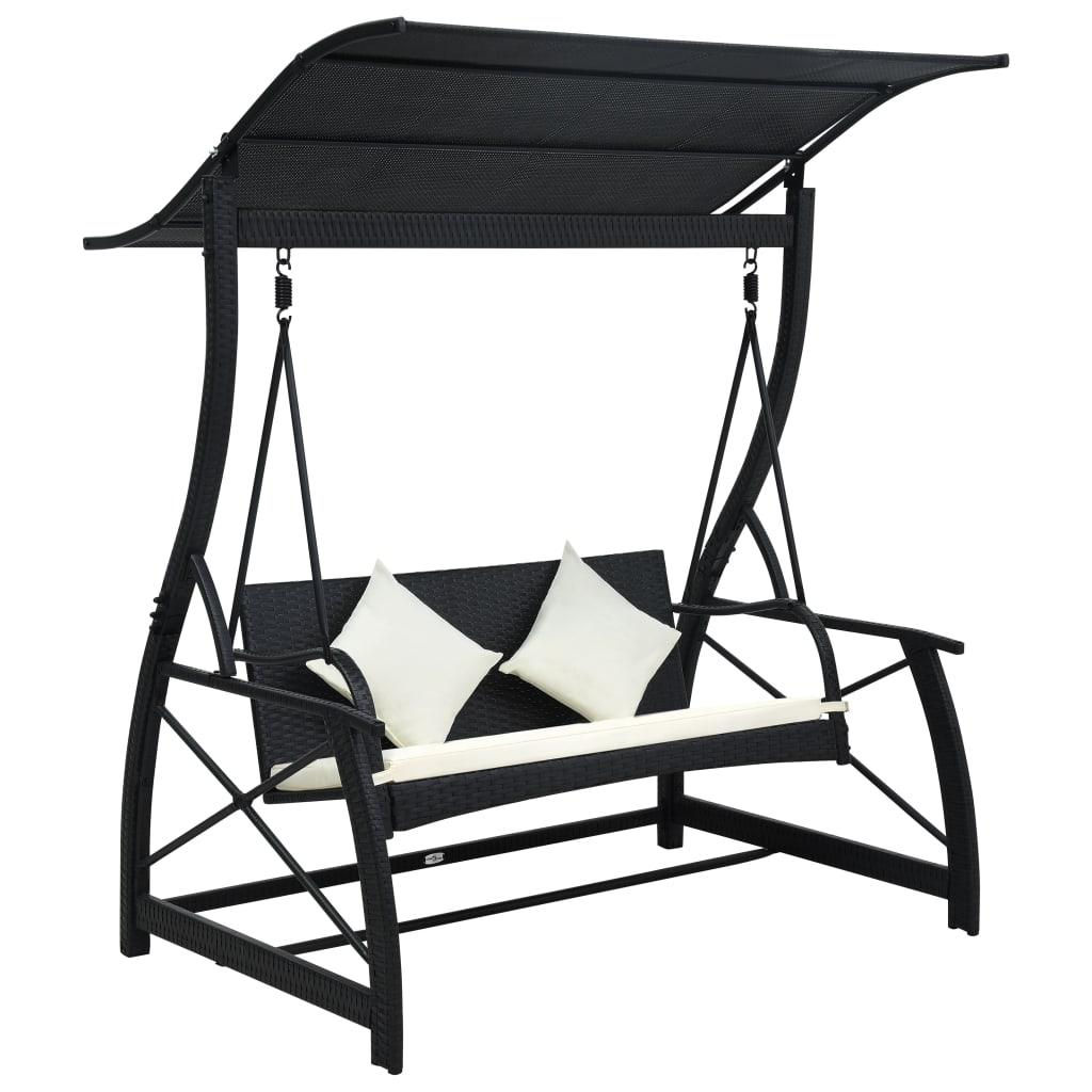 Hammock 3-sits med tak konstrotting svart