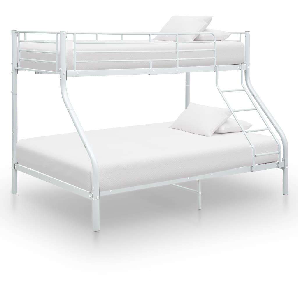Våningssäng vit metall 140x200/90x200 cm