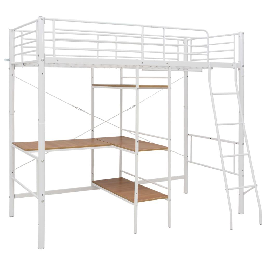 Våningssäng med bord vit metall 90x200 cm