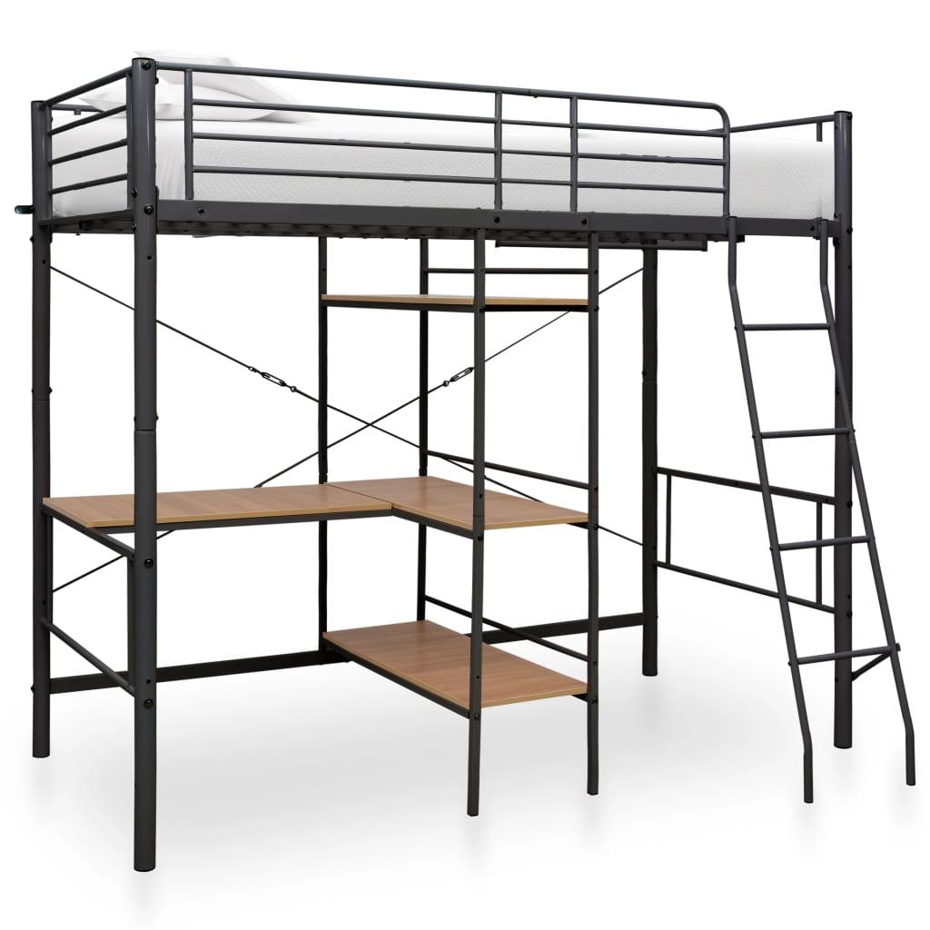 Våningssäng med bord svart metall 90x200 cm