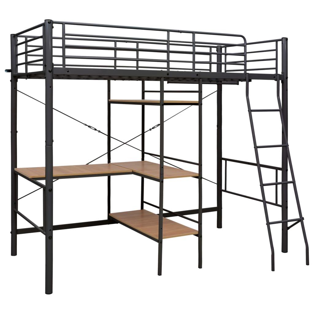Våningssäng med bord grå metall 90x200 cm
