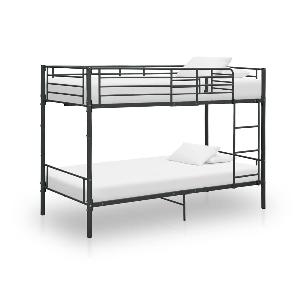 Våningssäng svart metall 90x200 cm