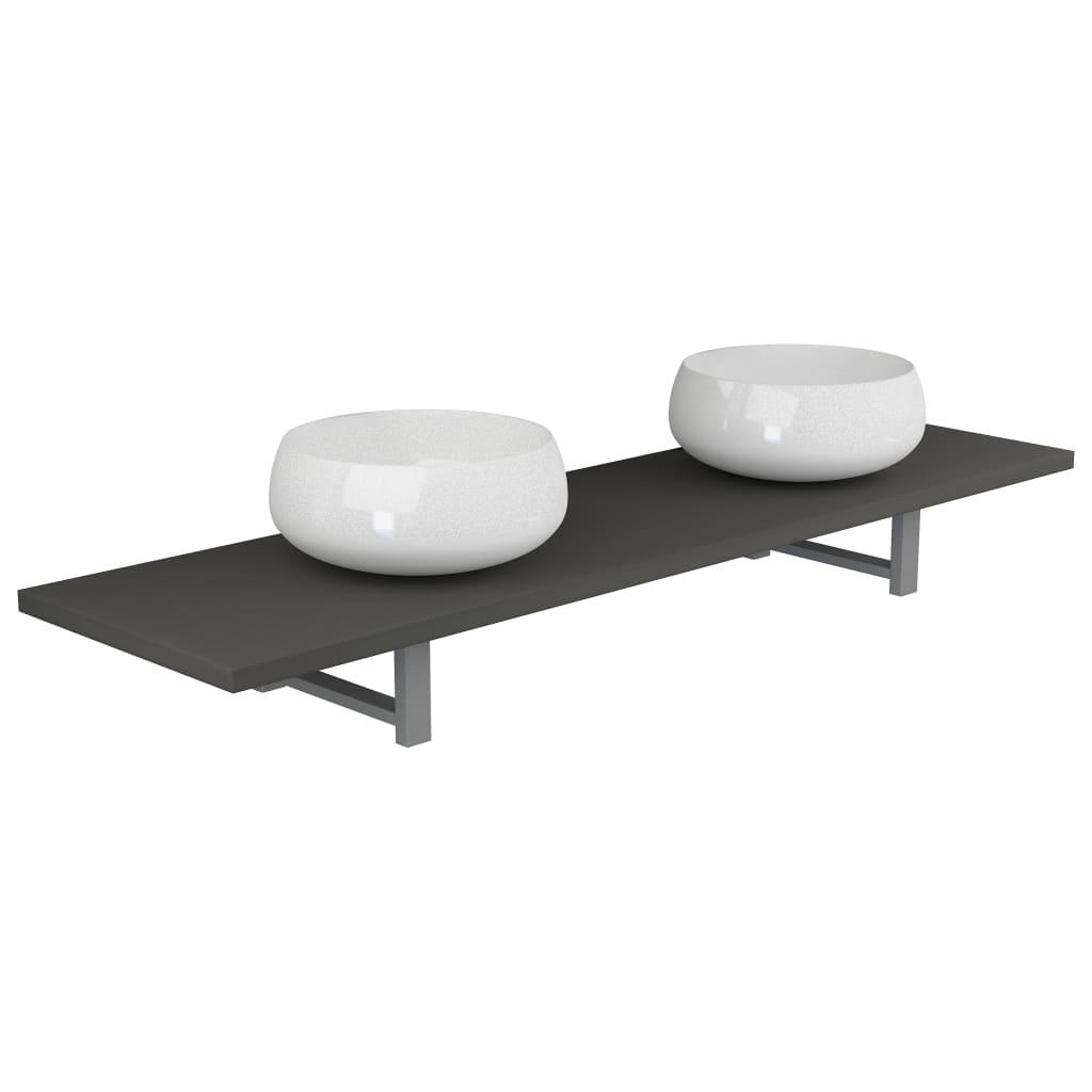 Badrumsmöbler 3 delar keramik grå