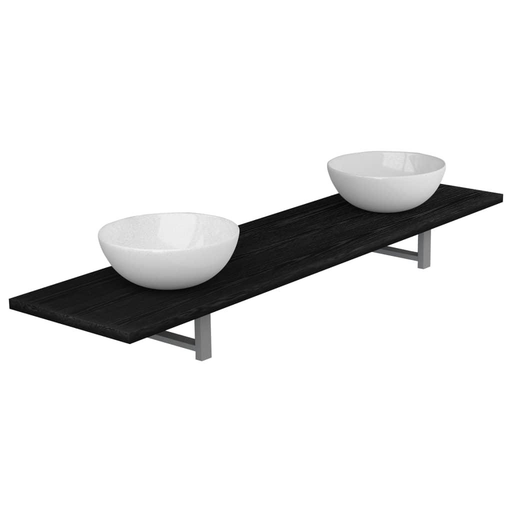 Badrumsmöbler 3 delar keramik svart