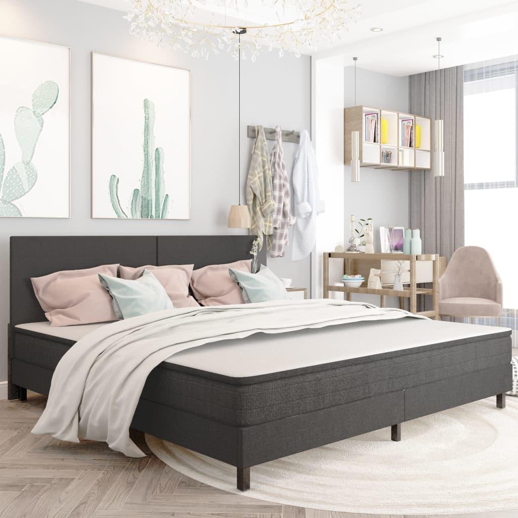 Sängram grå tyg 200x200 cm