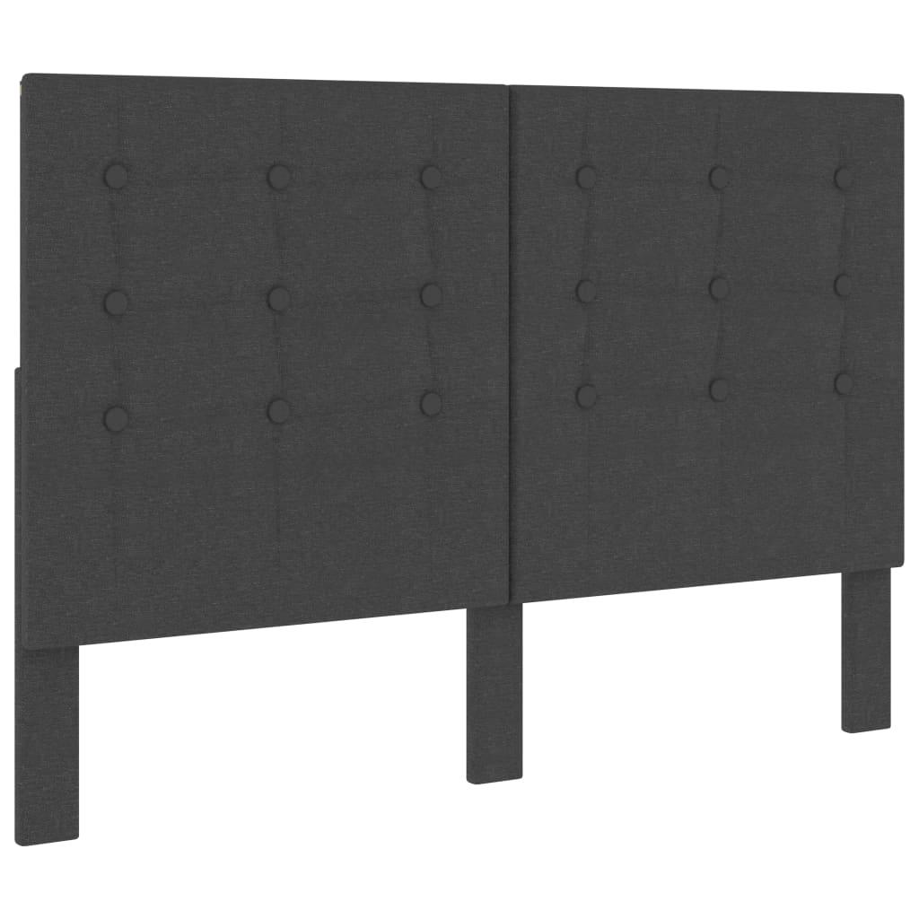 Huvudgavel mörkgrå tyg tuftad 140x200 cm