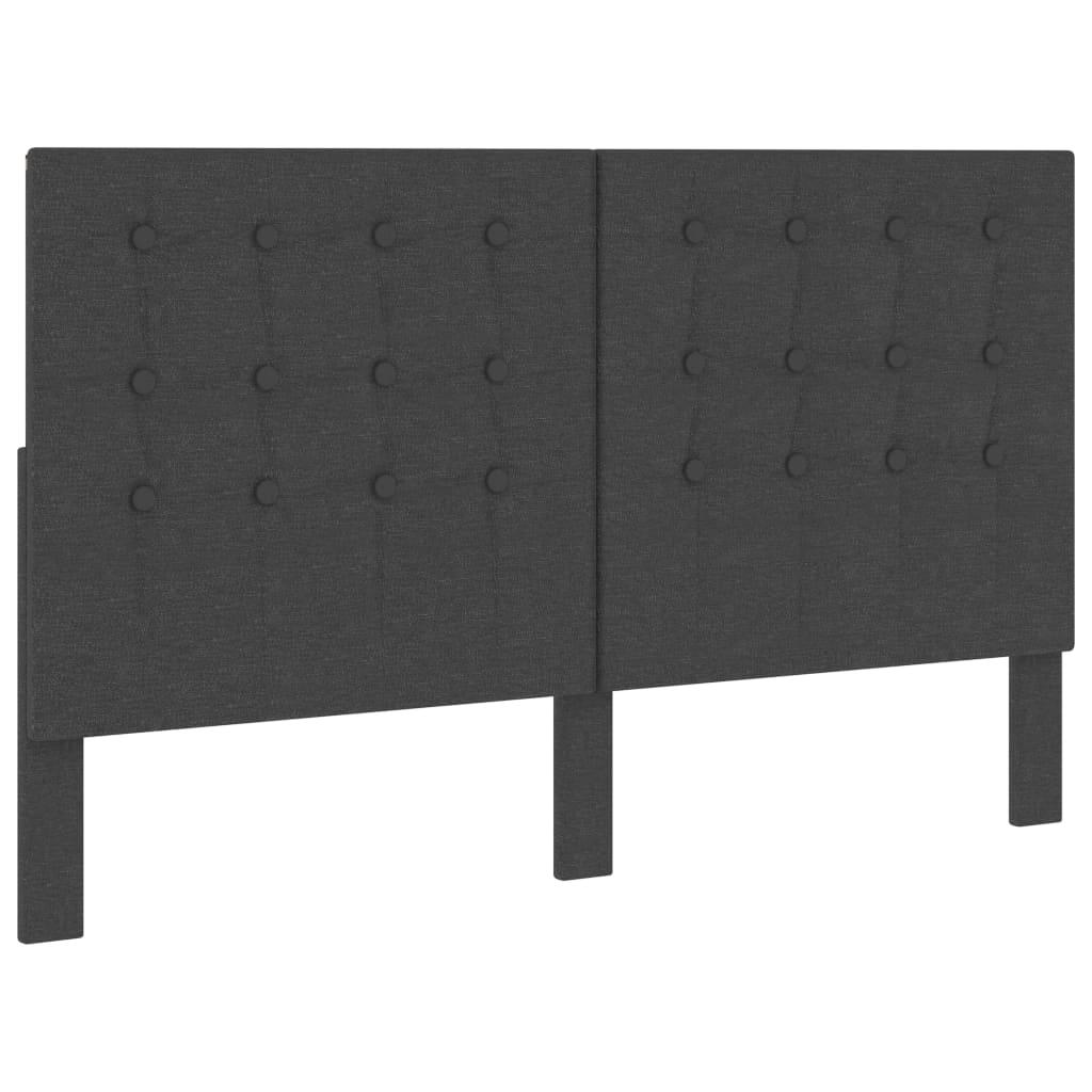 Huvudgavel mörkgrå tyg tuftad 160x200 cm