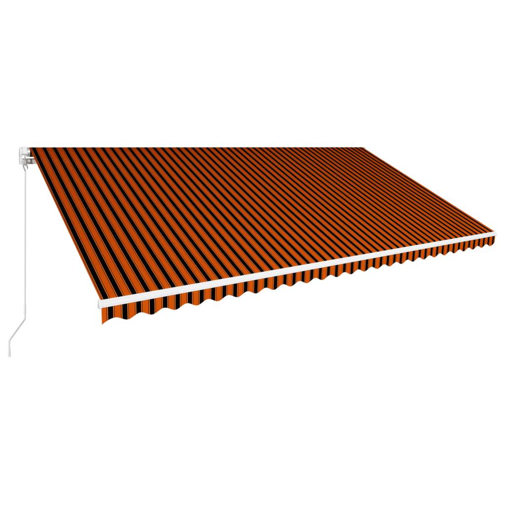 Markis manuellt infällbar 600x300 cm orange och brun