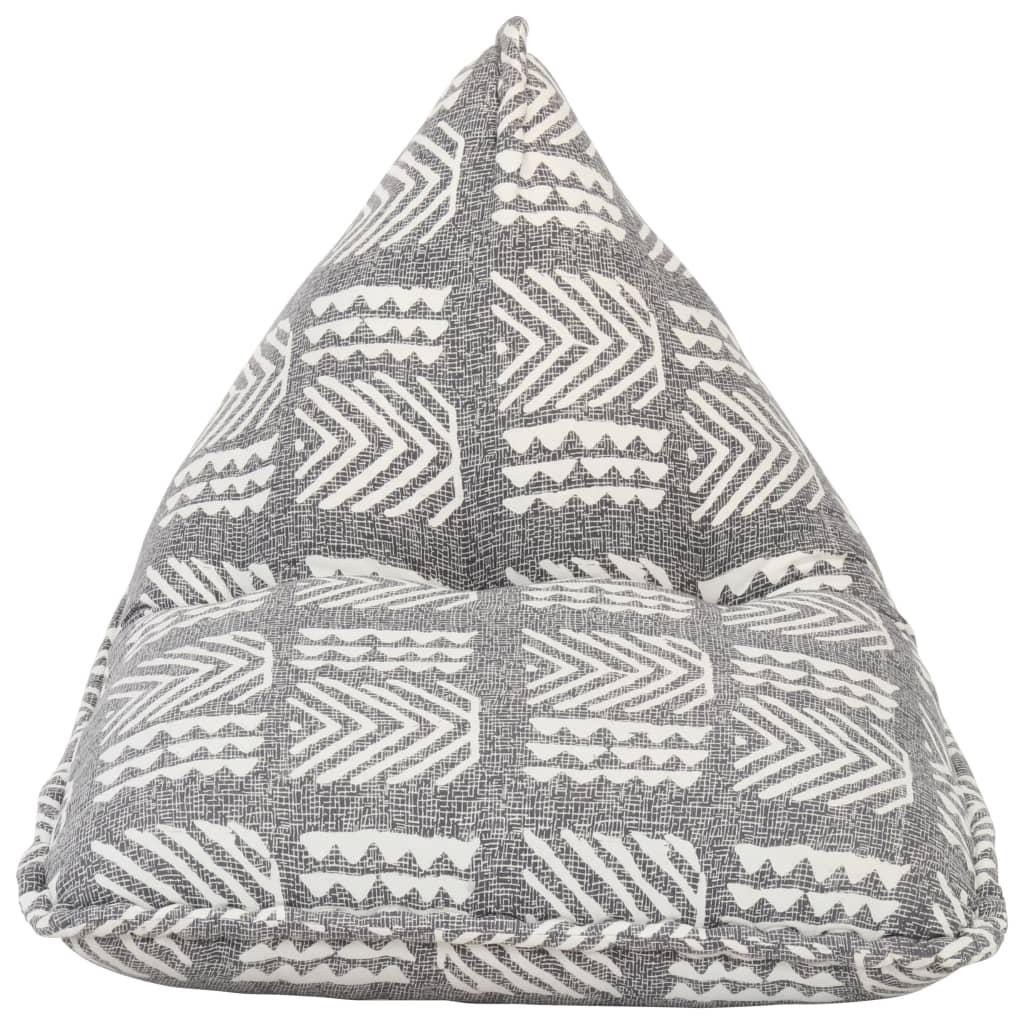 Sittpuff grå tyg lappmönster